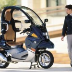 BMW's first production scooter, the canopied C1