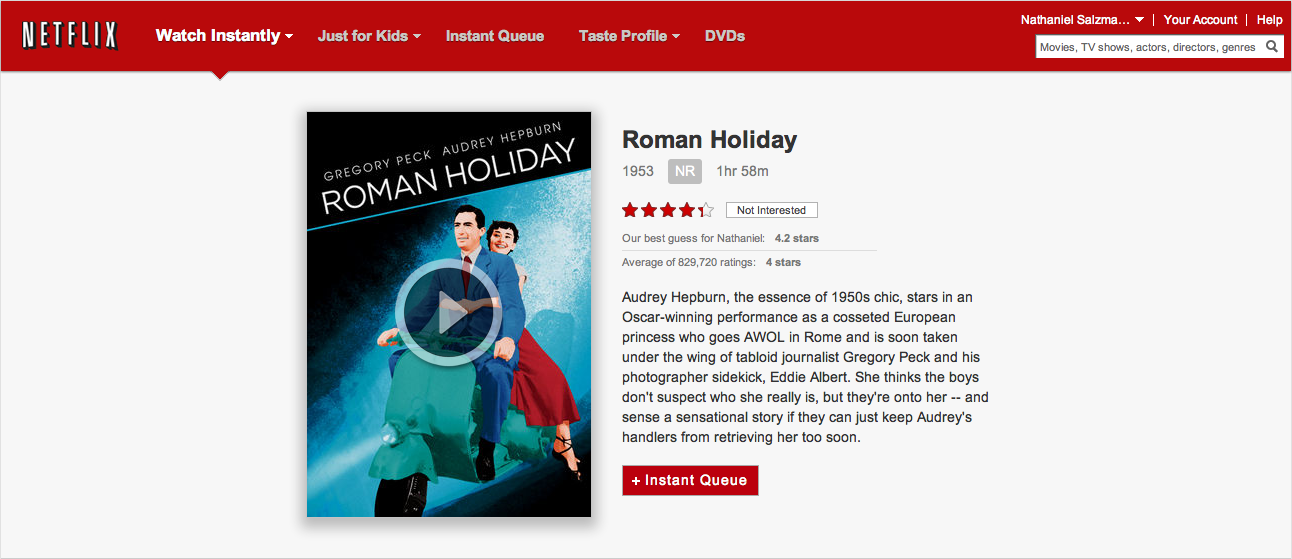 Roman Holiday on Netflix Instant Watch
