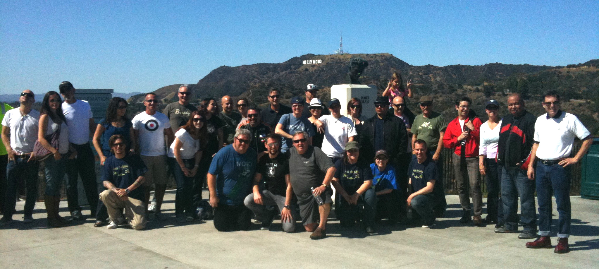 Philip McCaleb (front, center, with water bottle) with Genuine owners at a customer appreciation ride in Los Angeles, March 2012.